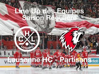 Line-Up HC Lugano - Lausanne HC