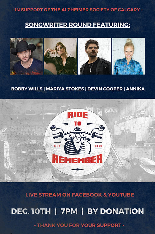 Ride To Remember Signed Songwriter Round Poster