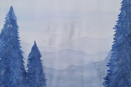 Watercolor Misty Mountains