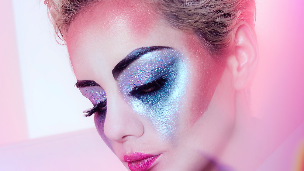 Icy Blue Sparkle Eye Makeup