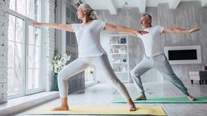 Senior Couple Doing Yoga Warrior Pose