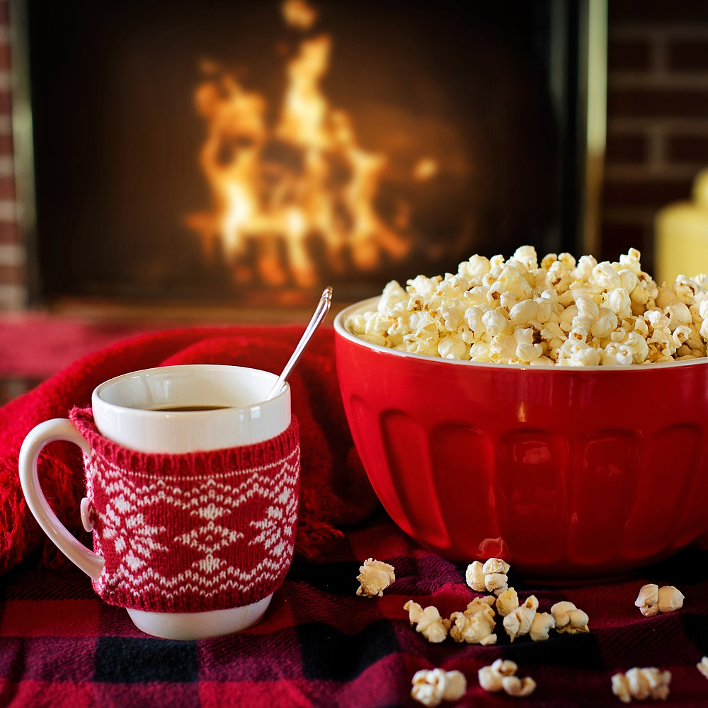 Hot Cocoa and Popcorn by the fire