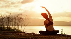 Woman Lakeside Yoga Side-bend
