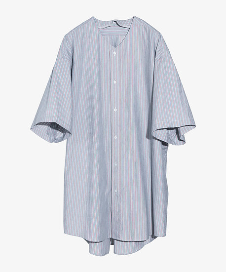 LONG COLLARLESS SHIRT SHORT SLEEVE RED STRIPE