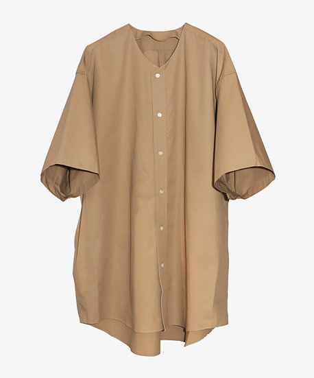 LONG COLLARLESS SHIRT SHORT SLEEVE BROWN
