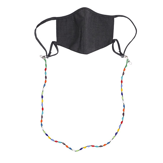 Tropical Wool Washable Mask + African beads cord