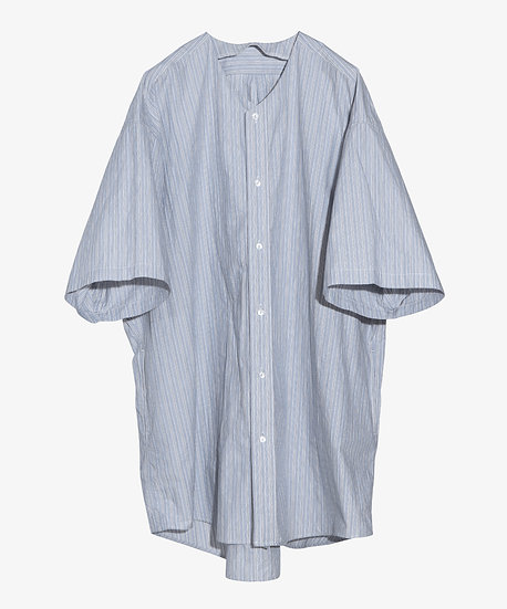 LONG COLLARLESS SHIRT SHORT SLEEVE GREEN STRIPE