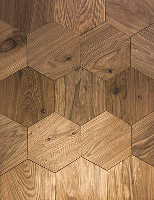 Curonians Hexagon parquet HEXIE Oak Natural | Decorative Art Flooring for modern Art Nouveau interior