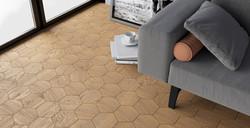 Modern Art Nouveau flooring for Att Nouveau interior | Curonians Hexagon parquet HEXIE