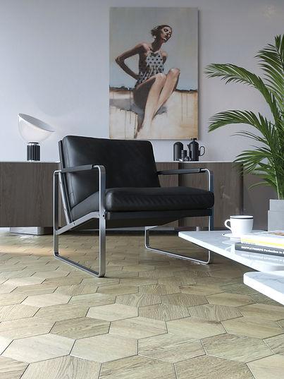 Modern Art Nouveau flooring for Art Nouveau interior | Curonians Hexagon parquet HEXIE