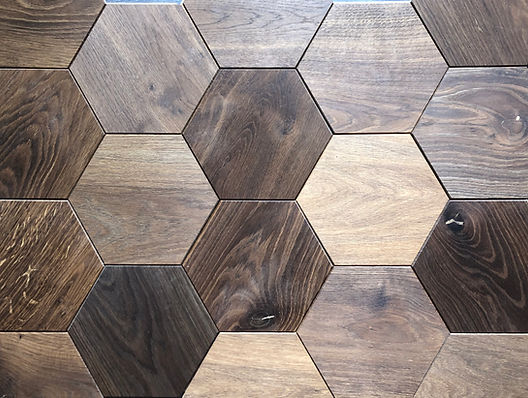 Curonians Hexagon parquet HEXIE Smoked Oak | Decorative Art Flooring for modern Art Nouveau interior