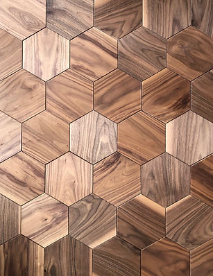 Curonians Hexagon parquet HEXIE American Walnut | Decorative Art Flooring for modern Art Nouveau interior