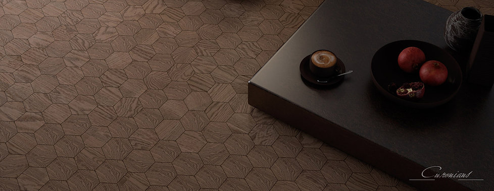 Curonians Hexagon parquet HEXIE | Modern Art Nouveau flooring for Art Nouveau interior