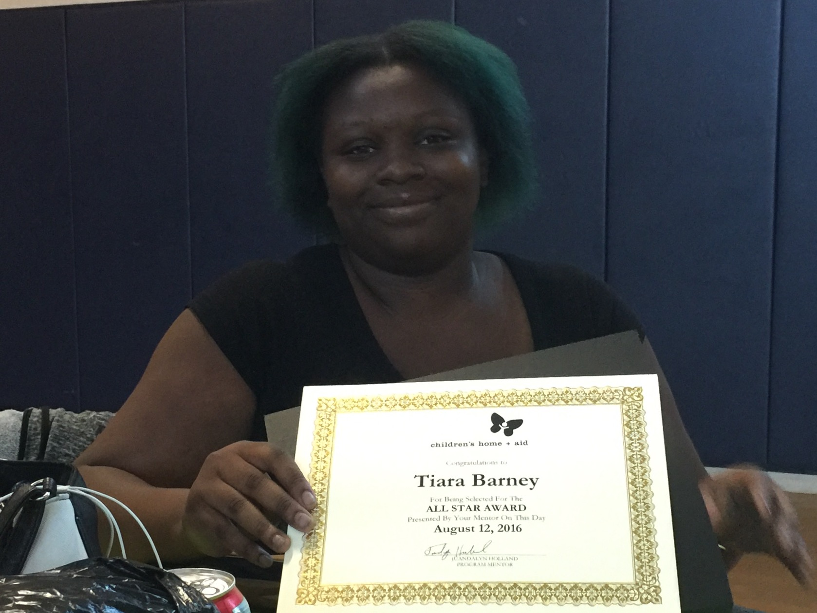 Tiara Barney, one of our wonderful and talented youth workers being honored