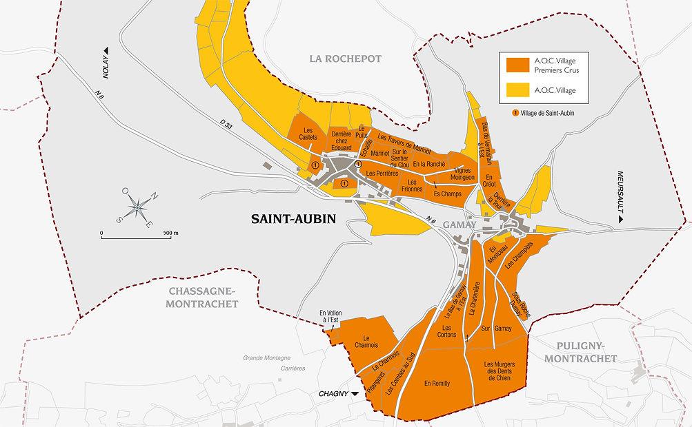 carte des climats de Saint Aubin, les parcelles de 1er Cru à proximité des montrachets
