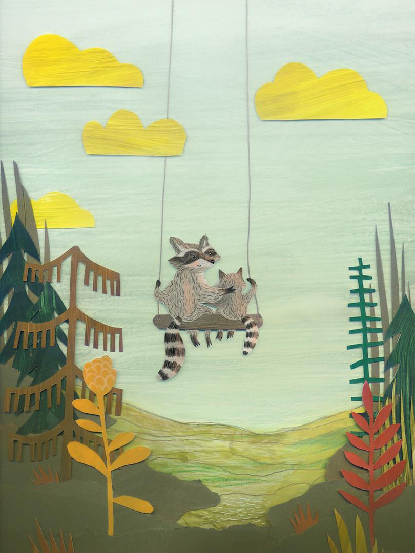 Raccoons on a swing