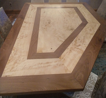 Curly Cottonwood with Black Walnut - Custom Table