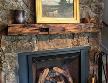 Reclaimed Barnwood Bean Fireplace Mantel