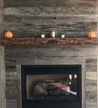 Reclaimed Antique Wood Beam Fireplace Mantel