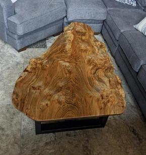 Live Edge Burled Elm Custom Coffee Table