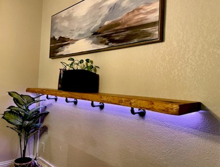 Live Edge Ash Slab Decorative Shelf
