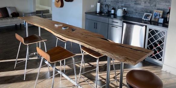 Live Edge Slab Locust Custom Bar Table