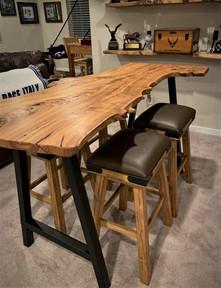 Live Edge Burled Elm Slab Custom Bar Table