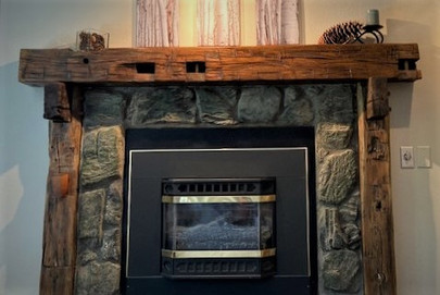 Reclaimed Barn Wood Beam Fireplace Mantel
