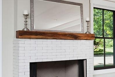Custom Fireplace Mantel - Reclaimed Oak