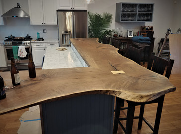 Custom Kitchen Bar - Live Edge Black Walnut