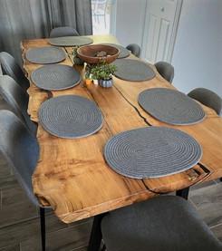 Live Edge Elm Slab Custom Dining Table