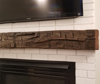 Reclaimed Hand Hewn Barn Beam Fireplace Mantel