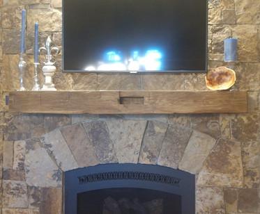 Custom Fireplace Mantel - Reclaimed Antique Barn Beam