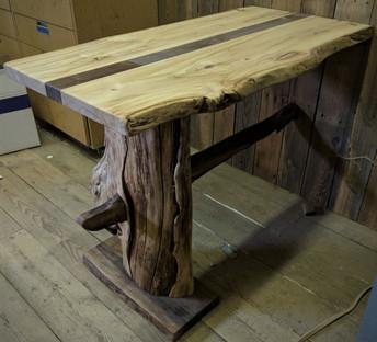 Live Edge Cottonwood with Black Walnut - Custom Table