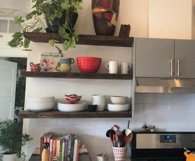 Reclaimed Antique Barn Wood Kitchen Floating Shelves