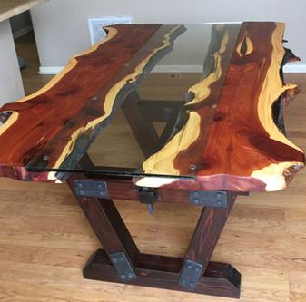 Live Edge Juniper Slab Custom Kitchen  Dining Table