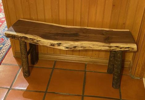 Live Edge Walnut Slab Entry Table Bench