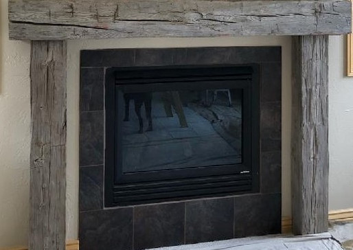 Reclaimed Barnwood Beam Fireplace Mantel