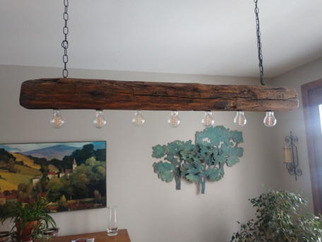 Reclaimed Antique Barn Beam Light Fixture