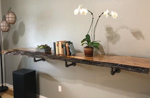 Live Edge Elm Slab Decorative Shelf