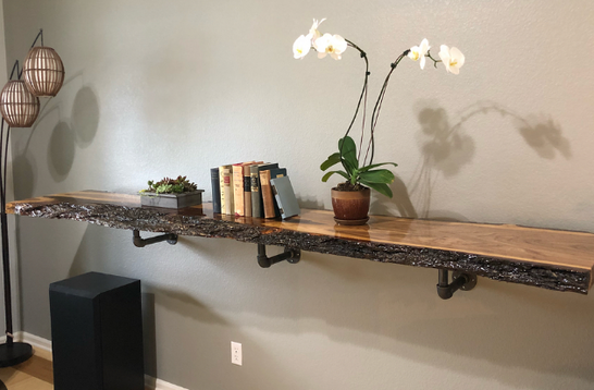Live Edge Elm Slab Decorative Shelf