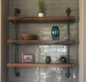 Live Edge Elm Slab Kitchen Shelves