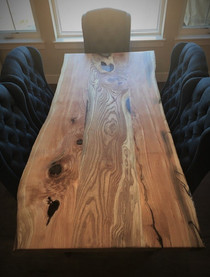 Live Edge Locust Slab Custom Dining Table