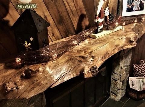 Live Edge Slab Rustic Fireplace Mantel