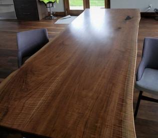 Live Edge Curly Walnut Slab Custom Dining Table