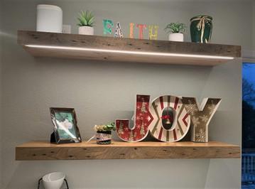 Reclaimed Barnwood Kitchen Floating Shelves