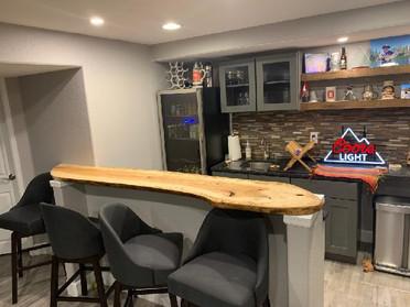 Live Edge Slab Ash Basement Bar Top