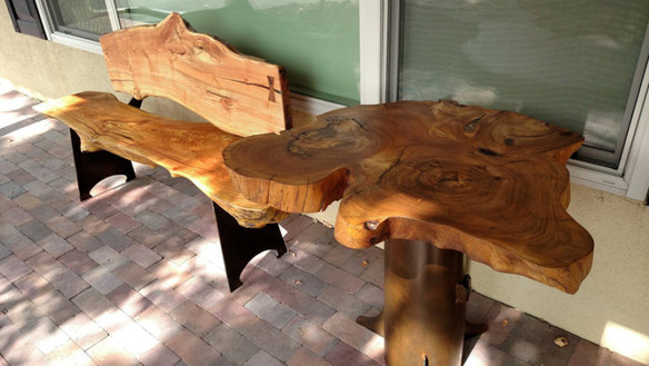 Live Edge Locust Slab Table and Bench