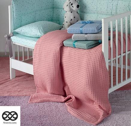 Κουβέρτα Πικέ Παιδική Μονόχρωμη