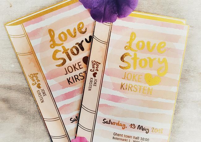 Huwelijksuitnodiging in boekvorm